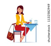 girl character sits in kitchen... | Shutterstock .eps vector #1132582949