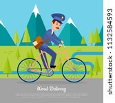 world delivery banner with... | Shutterstock .eps vector #1132584593