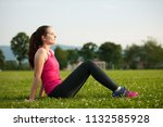 beautiful young woman rests...   Shutterstock . vector #1132585928