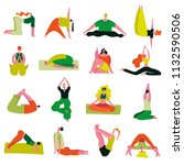yoga asanas collection from... | Shutterstock .eps vector #1132590506
