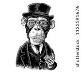 Monkey Gentleman Holding A...