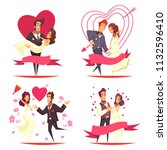 newlyweds cartoon design... | Shutterstock .eps vector #1132596410