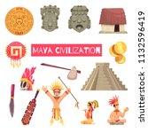 maya civilization set of...   Shutterstock .eps vector #1132596419