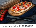 pizza with ham and mushrooms | Shutterstock . vector #1132598150