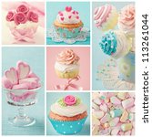 pastel colored  cupcakes and... | Shutterstock . vector #113261044