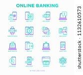 online banking thin line icons... | Shutterstock .eps vector #1132610573