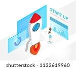 isometric businnes start up... | Shutterstock .eps vector #1132619960