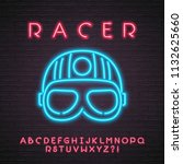 racer helmet neon light glowing ... | Shutterstock .eps vector #1132625660