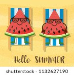 watermelons cartoon character... | Shutterstock .eps vector #1132627190