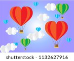 colorful hot air balloons shape ...   Shutterstock .eps vector #1132627916