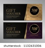 voucher template with gold... | Shutterstock .eps vector #1132631006