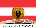 bitcoin btc on stack of... | Shutterstock . vector #1132636859