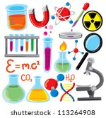 set of science stuff icon