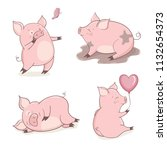 set of cute cartoon pigs... | Shutterstock .eps vector #1132654373