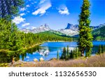 summer mountain forest lake...   Shutterstock . vector #1132656530