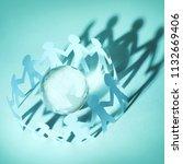 paper people standing in circle ...   Shutterstock . vector #1132669406