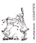 Stock photo ink sketch of two hares fighting a traditional sketch of two march hares fighting female hare 1132697870