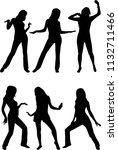 dancing people silhouettes. | Shutterstock . vector #1132711466