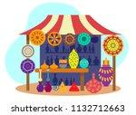 asian pottery street stall | Shutterstock .eps vector #1132712663