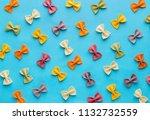 italian pasta pattern on a blue ... | Shutterstock . vector #1132732559