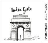 india gate delhi illustration... | Shutterstock .eps vector #1132749329