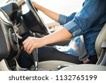 woman driver hand shifting or... | Shutterstock . vector #1132765199
