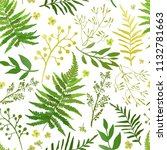 seamless pattern with leaves.... | Shutterstock . vector #1132781663