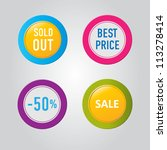vector  stickers with sale... | Shutterstock .eps vector #113278414