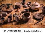 chinese tea set and accessories ... | Shutterstock . vector #1132786580