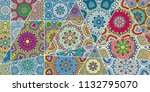 vector patchwork quilt pattern. ...   Shutterstock .eps vector #1132795070