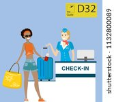 people in airport at... | Shutterstock .eps vector #1132800089