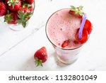 a large glass of thick... | Shutterstock . vector #1132801049