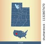 utah county map vector outline... | Shutterstock .eps vector #1132807670