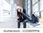beautiful young woman waiting... | Shutterstock . vector #1132809956
