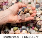 woman holding various tumbled... | Shutterstock . vector #1132811279