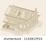 wooden house from glued... | Shutterstock .eps vector #1132815923