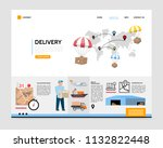 flat delivery service landing... | Shutterstock .eps vector #1132822448