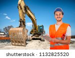 worker with bulldozer in road... | Shutterstock . vector #1132825520