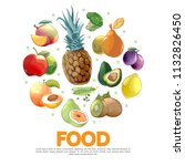 cartoon fruits and vegetables... | Shutterstock .eps vector #1132826450
