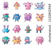 alien scary monster icons set.... | Shutterstock . vector #1132832969