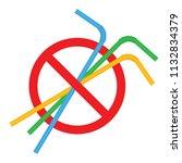 signs stop straw tube plastic ... | Shutterstock .eps vector #1132834379
