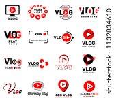 vlog video channel logo icons... | Shutterstock . vector #1132834610