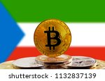 bitcoin btc on stack of... | Shutterstock . vector #1132837139