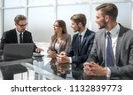 team leader explain and... | Shutterstock . vector #1132839773
