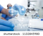 scientist hand holding a test... | Shutterstock . vector #1132845980