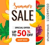 summer sale banner with pieces... | Shutterstock .eps vector #1132849310