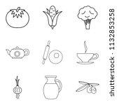 basic vegan menu icons set.... | Shutterstock . vector #1132853258