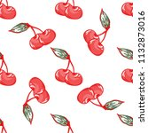 cherry pattern on white...   Shutterstock . vector #1132873016