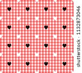 black heart pattern on red and...   Shutterstock . vector #1132873046