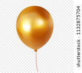 gold helium balloon isolated on ... | Shutterstock .eps vector #1132875704